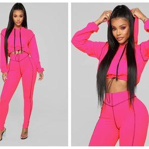 Fashion Nova Stay Lit Lounge Set - Hot Pink Small